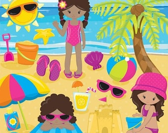 80% OFF SALE Beach party girls clipart commercial use, beach kids vector graphics, vacation kids digital clip art, digital images  - CL851