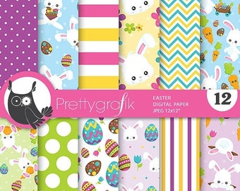80% OFF SALE Easter digital paper, commercial use, easter scrapbook papers, easter background, easter bunny - PS782