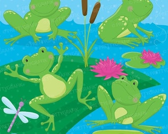 80% OFF SALE Frog pond clipart commercial use, frogs animals vector graphics, digital clip art, digital images - CL688