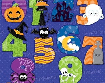 80% OFF SALE Halloween numbers clipart, clipart commercial use, vector graphics, digital clip art, digital images - CL909