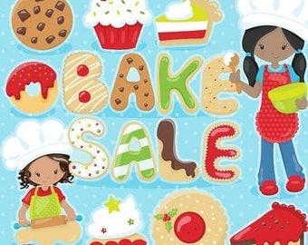80% OFF SALE bake sale clipart, dessert clipart, christmas commercial use, vector graphics, digital clip art, african american - CL1096