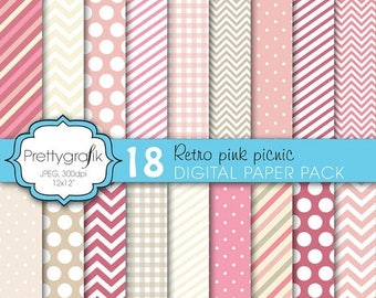 80% OFF SALE 18 bright colors digital paper, commercial use, scrapbook papers, background chevron, gingham, stripes - PS619