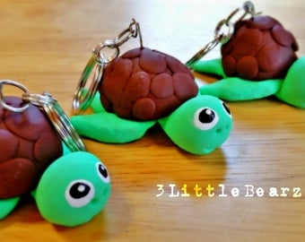 Green Turtle Polymer Clay Keychain