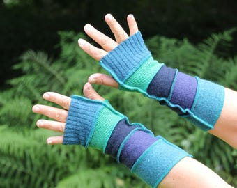 Upcycled Ladies Armwarmers, Wristwarmers, Fingerless Gloves. Handmade in UK from Recycled Wool Knitwear. Blue Green Ethical fashion OOAK
