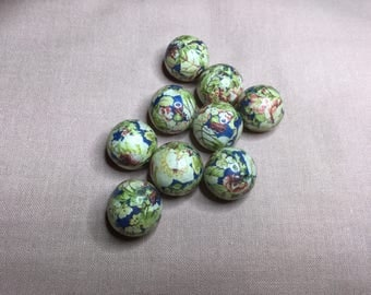 9 PCs. Beautiful Decoupage Floral Beads- Multicolor