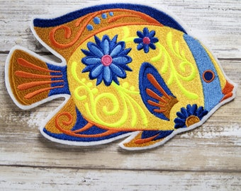 Flower Power Tropical Reef Fish - Iron On Embroidery Patch MTCoffinz - Choose Size