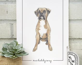 Personalised Boxer Dog Portrait  - Hand Drawn Print - Made to Order - Boxer Dog Illustration - Pet Portrait - Boxer Dog - Personalised Print