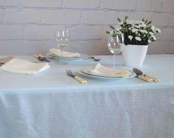 Blue Linen Tablecloth, Pure linen tablecloth, Wedding tablecloth, Birthday tablecloth, Blue linen