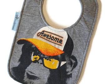 Awesome Monkey Bib • Upcycled Tshirt Baby Bib • Monkey Baby • Funny Baby Gift