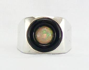 OPAL & ONYX  Sterling silver Men's Ring