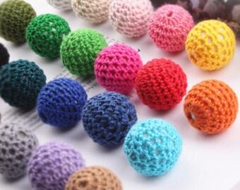 10pcs cord wrapped bead,bubble earring bead,crochet bead,round ball,multi colors,pink,fuchsia,navy blue,ball beads,jewelry supplies J0331