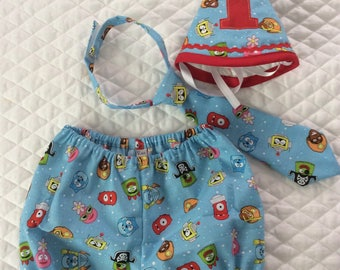 Boys Yo Gabba gabba  cake smash   set,12 months.Ready to ship