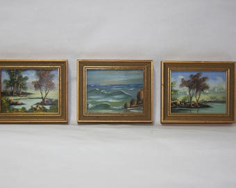 Set of Three (3) Miniature Authentic Landscape Paintings from Spain