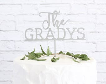 Wedding Cake Topper,  Last Name Custom Wedding Cake Topper, Custom Last Name Cake Topper, DIY Cake Topper