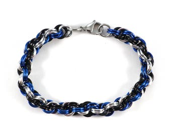 Spiral Chainmaille Bracelet | Hand Crafted Chainmaille Jewelry | Handmade Bracelet | Blue, Black, and Silver | Anodized Aluminum
