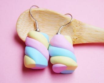 Pastel Marshmallow Stud Earrings - handmade, polymer clay, cute, pastel, studs