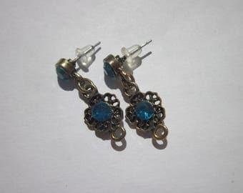 top with bronze metal and rhinestones (F38) earrings