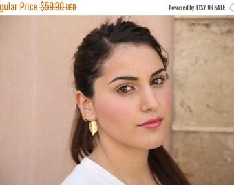 SALE Large folded leaf dangle Earrings 14K Gold Filled , 14K Gold plated