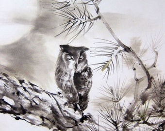 Large Owl sumi-e painitng Ink art Japanese Ink on paper  Japanese art Asian art  Sumi-e  Flowers and Birds Suibokuga  Owl in pine Moon night