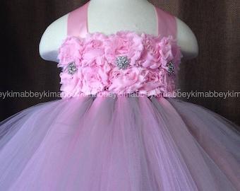 beautiful princess  tutu dress , birthday dress,flower girl dress in pink and grey