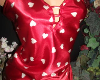 """Satin Nightgown Heart Gown Shiny Babydoll Liqued Nighty Nightgown Lingerie M 40"""""""