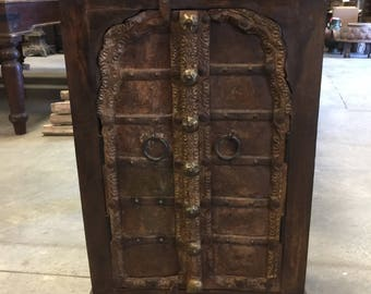 Antique Mehrab Patina Doors Side Chest, Nightstands, Hand carved End Tables, Moroccan Decor
