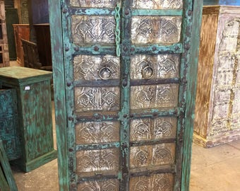 Antique Almirah Green Jaipuri Brass Dancing Camel Carved Wardrobe Cabinet Shabbychic Interiors Design