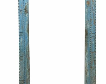 Antique Blue Haveli Door Frame Only , Zig Zag Decorative Cuts Design Entrance Arch Shabby CHIC Decor FREE SHIP Early Black Friday
