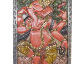 Vintage Boho Ganesha Barn Door Hand Carved Artisan Wall Sculpture, Wall Decor Shabby Chic Decor
