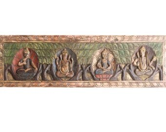 Antique Vintage Buddha Ganesha Headboard Mediation Wall Sculpture, Home interior Decor FREE SHIP Early Black Friday