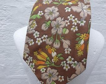 Brown floral tie mens 1970s fashion handmade necktie green yellow gift for him birthday present 70s tie cotton necktie vintage festival mens