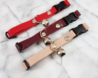 Reclaimed Leather Cat Collar with Bell Breakaway