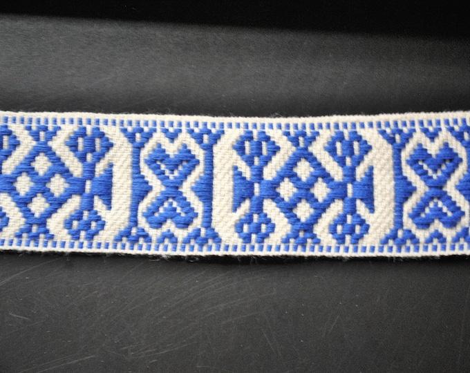 "Swedish Folk Art Woven Ribbon Wide Blue & White 1.57"" 4 cm Per Yard"