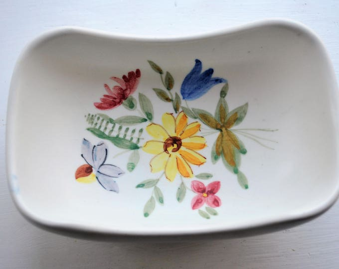 Swedish Rorstrand Floral Dish Curved Antique 1940s