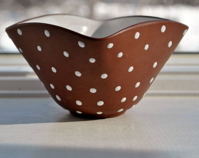 Vintage Norwegian Polka Dot Art Pottery Bowl Mid Century Modern
