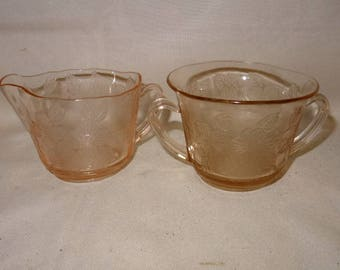 Dogwood Pink Creamer and Sugar Bowl Set  MacBeth Evans