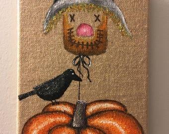 "Scarecrow Crow Pumpkin Burlap Canvas - 8""x10"" Fall Decor"