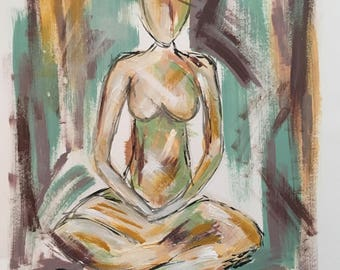"""Acrylic painting on paper figure """"center"""" 9x12"""