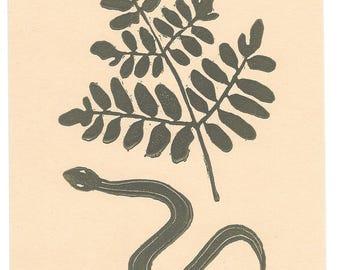 snake + royal fern lino block print