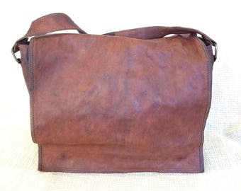 Vintage brown waxed leather messenger travel bag crossbody