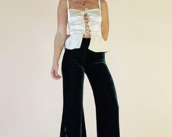CORSET TIE TOP | Pure Silk Fabric Options | Wear with Pants Skirts Shorts and Look Terrific | So Pretty and So Many Options
