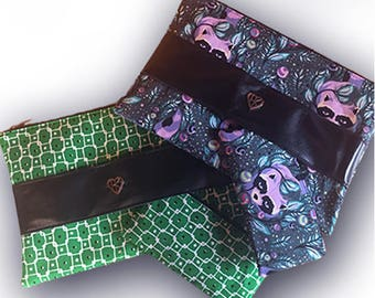 Perfect Clutch and Makeup Bag (Raccoon or Green Print)