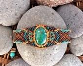 Gemstone Macrame Bracelet with Chrysocolla in street style, boho jewelry with tribal pattern