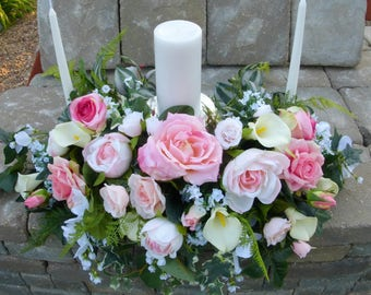 Unity candle Wedding flowers - Pink and white Rose Centerpiece - Wedding decorations - Candle centerpiece