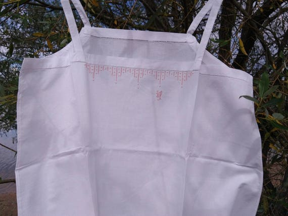 1930's Deco French White Cotton Slip Handmade Unworn Lingerie Pink Monogram and Hand Embroidered Medium Large Size #sophieladydeparis