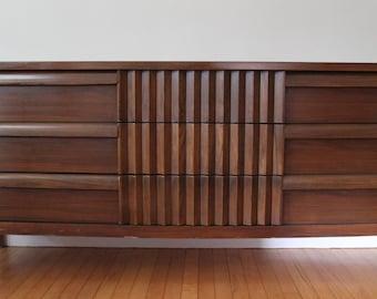 Mid Century Modern Walnut Triple Dresser