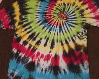 Black Infused Rainbow Spiral Tie Dye T-Shirt XL