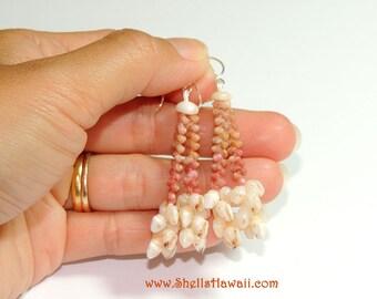 """1 3/4"""" Double strand Kahelelani & Momi shell earrings #208"""