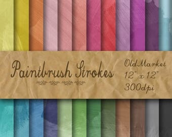 SALE- Paintbrush Strokes Digital Paper - Paintbrush Stroke Textures -  24 Colors - 12in x 12in - Commercial Use -  INSTANT DOWNLOAD