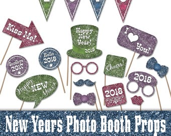 2018 Colorful Glitter New Years Photo Booth Props - Printable Decorations and Banner - Over 35 Images - Digital Download - INSTaNT DOWNLoAd